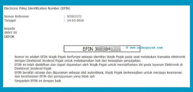 Contoh EFIN Pajak